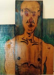 21st Century Boy Blue, 2010 Acrylic on Found and Assembled Board  47w x 63h x 4d CM