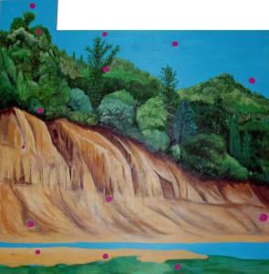 Pox, 2013 Acrylic on Found Board 48w x 48h x 1.25d inches